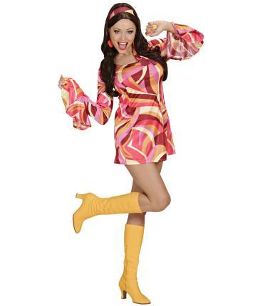 Kostüm 70er Jahre Kleid Hippiekostüm Größe L  rot
