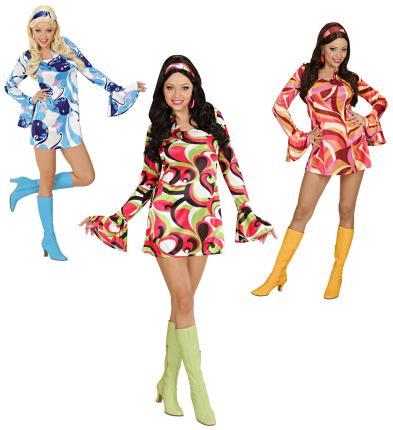 Kostüm 70er Jahre Kleid Hippie Verkleidung Größe S