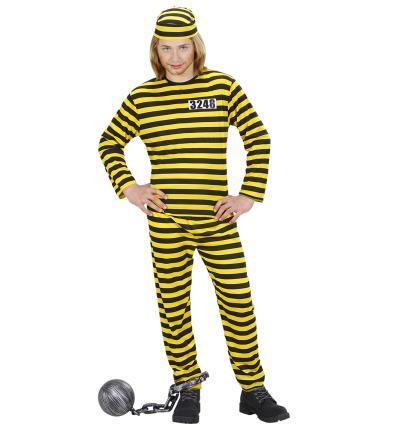 Kostüm Gefangener Kinder Häftlingskostüm  gelb schwarz Häfling Gr. 158 c,m