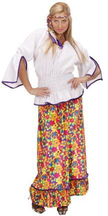 Samt Kostüm Hippie - Hippy Frau Gr. L