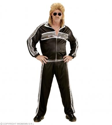 80er 90er Jahre Trainingsanzug - Jogginganzug schwarz 80ties Anzug Proll