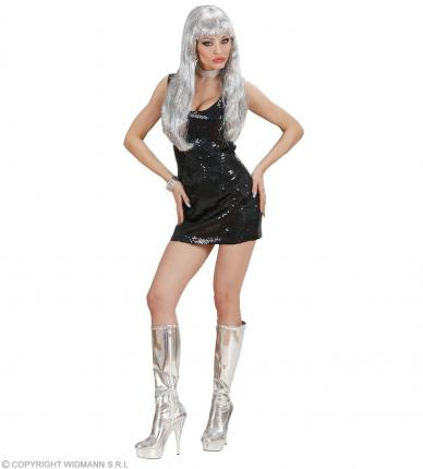 Disco Pailletten Kostüm schwarz Gr. M Damenkostüm 70ties