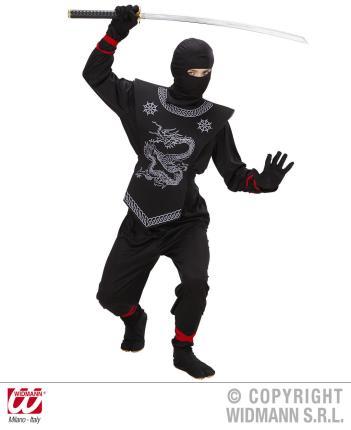 Kostüm schwarzer Ninja Gr.158 cm komplett