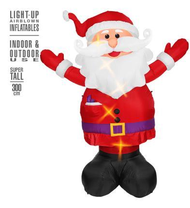 Aufblasbarer leuchtender Weihnachtsmann 300 cm für innen und außen - Deko