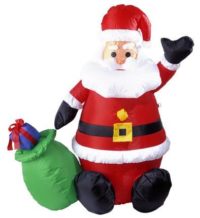 Aufblasbarer leuchtender Weihnachtsmann 122 cm für Dekoration innen/außen