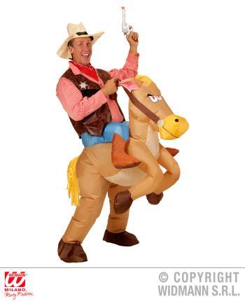 Aufblasbares Pferd - Pferdekostüm Cowboy M/L
