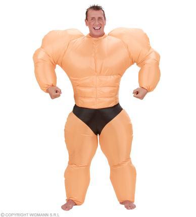 Aufblasbares Bodybuilder Kostüm - Muskelpaket Gr. M/L Kraftprotz