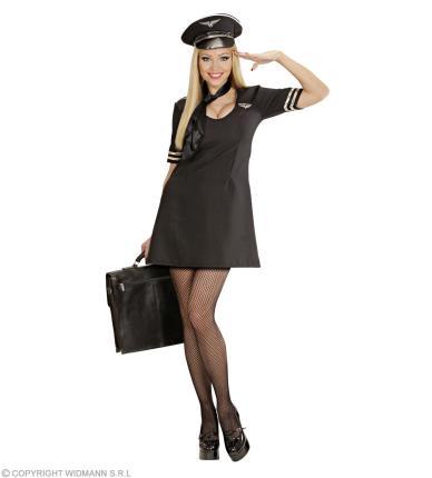 Pilotin Kostüm sexy Glam Girl Gr M - Pilotinkostüm Stewardess Hostess 38-40