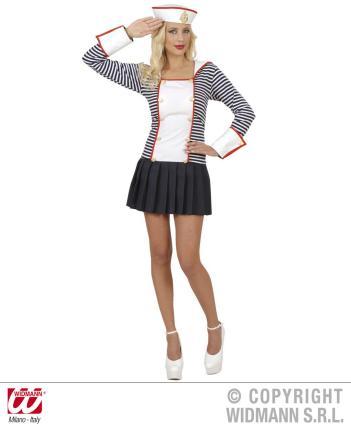 Kostüm Matrosin - Kleid mit Kragen, Hut - M  Leichmatrosin Damen Kostüm