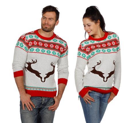 Wilbers Weihnachtspullover Rentier weiß Gr. S -  Weihnachtspulli Christmas Pulli