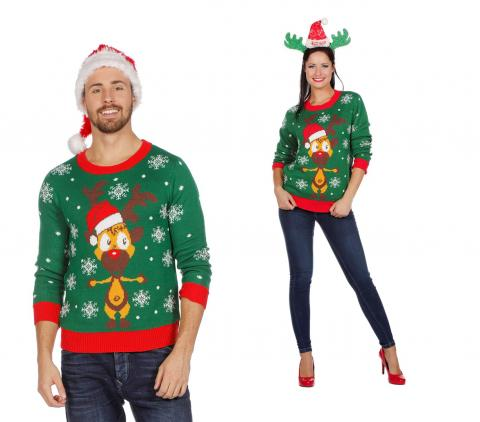 Wilbers Weihnachtspullover Rentier grün Gr. S - XXL -  Weihnachtspulli Christmas Pulli