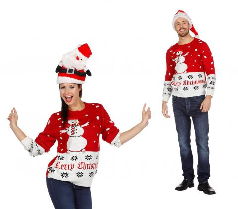 Wilbers Weihnachtspullover Schneemann rot-weiß  S-XXL  Weihnachten Pulli Gr. XXL