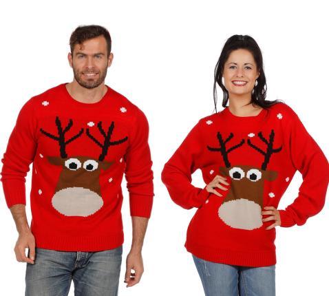 Wilbers Weihnachtspullover Rentier rot Gr. XXL -  Weihnachtspulli Christmas Pulli