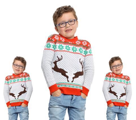 Wilbers Weihnachtspullover Rentier weiß Gr. 152 cm - 11-12 Jahre - Weihnachts Pulli Kinder