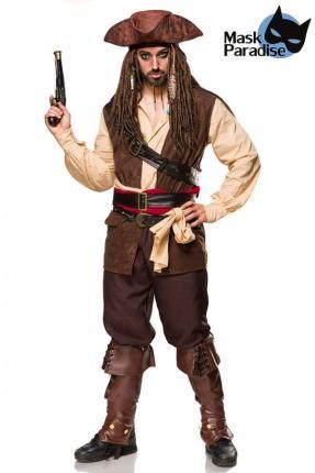 Mask Paradise Captain of the Carribean mehrteiliges Kostümset für Herren Gr. L