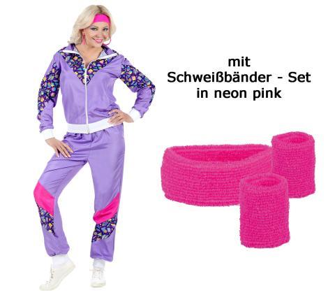 Violetter 80er Jahre Damen  Jogginganzug 80er Jahre mit Schweißbänder XL - 46/48