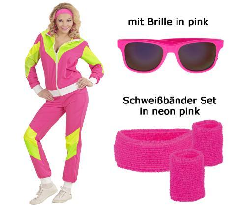 Damen Kostüm 80er Jahre Trainingsanzug mit Brille + Schweißbänder S - 34/36