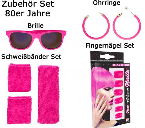 80er Jahre Zubehör Set Dame - Set 80 ties pink