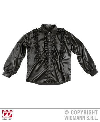 Rüschenhemd Satin schwarz XL Showhemd