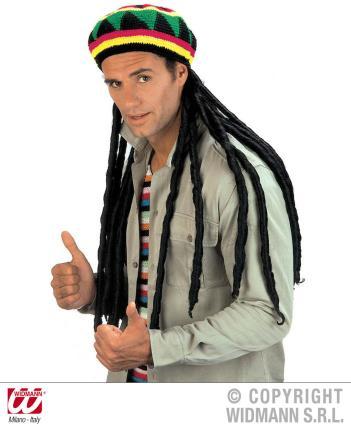 Hippie Mütze mit Rastazöpfen - Hippymütze  Kappe Reggae-Man mit Rastazöpfe