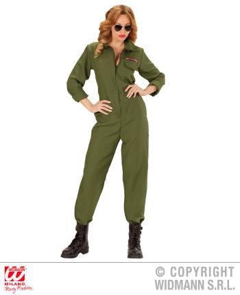 Kampfjet Pilotin Kostuem - Jet Pilotin Verkleidung Gr. L  Fliegerkostüm