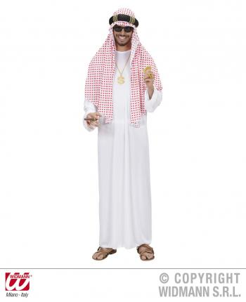 Kostüm Arabischer Scheich Größe XL - Araber mit rot-weiß Turban