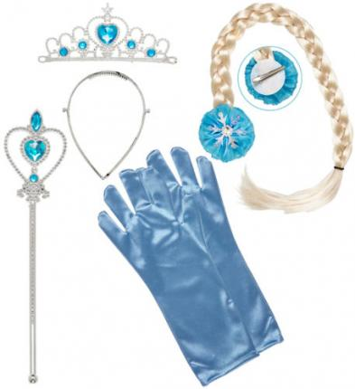 Set Schneeprinzessin - Eisprinzessin - Diadem Zopf Handschuhe Prinzessinnenstab