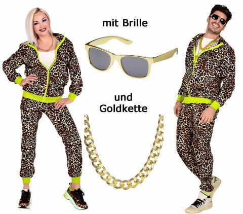 80er Jahre Trainingsanzug - Leoparden Look  Gr. S bis 2XL Unisex + Brille + Kette