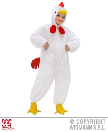 Kinder Kostüm Huhn - Overall mit  Kapuze 3-5 Jahre  113 cm