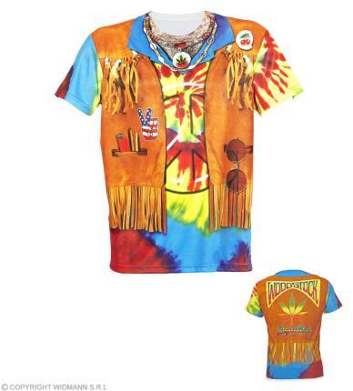 Fotorealistisches Shirt für Herren - Flower Power Hippie Gr. XL