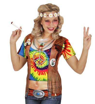 Fotorealistisches T-Shirt als Hippie Frau Gr. L/XL - Hippy Verkleidung Frau L/XL
