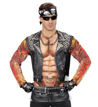 Fotorealistisches Shirt Rocker - Biker Gr. M/L  - Rockershir Bikershirt Langarm M/L