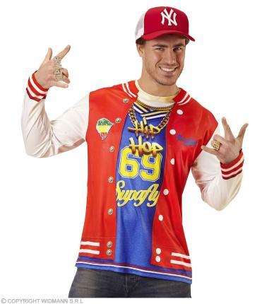 Hip Hop Langarm Shirt für Herren - fotorealistisch Rapper  Gr. M/L