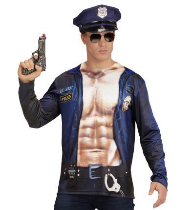 Fotorealistisches Shirt Polizist Gr. M/L  - Polizei Kostüm Mann Langarm M/L