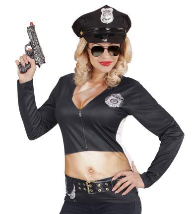 Fotorealistisches Shirt als Polizistin Gr. S/M - Polizistin Kostüm Langarm S/M