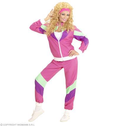Kostüm 80er Jahre Dame Trainingsanzug Jogginganzug 80ties Verkleidung XXL - 50/52