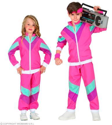 80 er Jahre Trainingsanzug  Kinder - Jogginganzug - pink - 128 - 164 cm 80ties