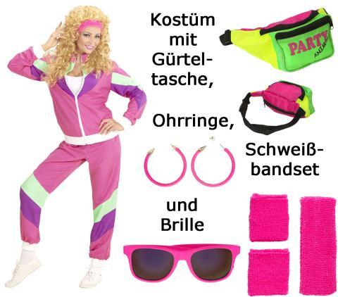 Kostüm Set 80er Jahre Dame Trainingsanzug Gr. S mit Zubehör