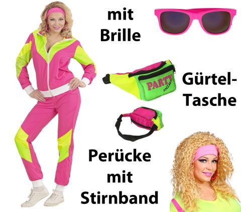 Damen Kostüm 80er Jahre Trainingsanzug Gr. S - XXL mit Brille, Tasche, Perücke