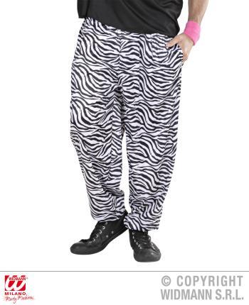 80er Jahre Hose mit Zebra Muster, schwarz-weiß  Gr. XL