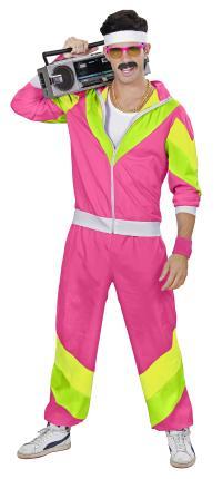 Herren 80 er Jahre Trainingsanzug - Jogginganzug - pink - Partnerkostüm XL - 54/56