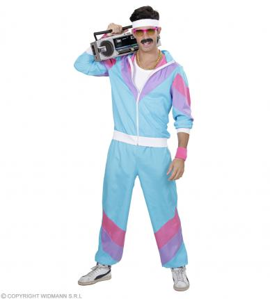 Proll 80 er Jahre Trainingsanzug - Jogginganzug - Blau - Männer Kostüm