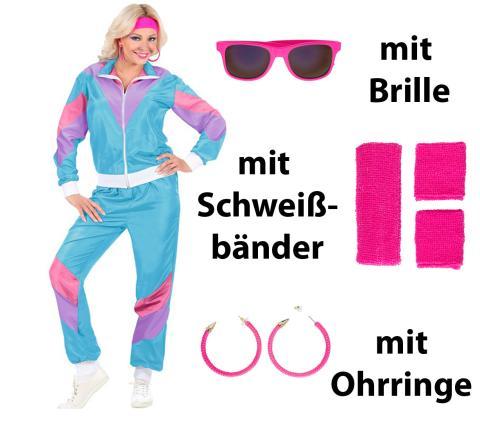 Kostüm Set 80er Jahre Dame Gr. S - XXL - + Bänder, Brille Ohrringe