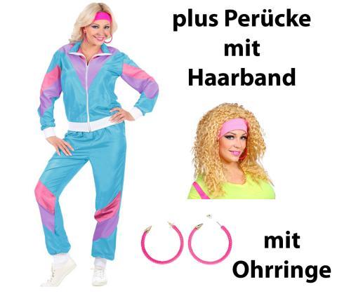 Kostüm Set 80er Jahre Dame Gr. S - XXL  + Perücke + Ohrringe