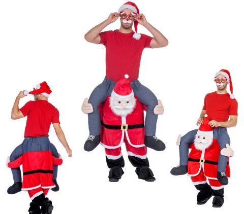 Huckepack Kostüm - Mann auf Weihnachtsmann - Wilbers Gr. M/L - Hucke Pack