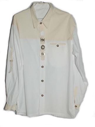 Trachtenhemd weiß mit Verzierung Gr. L - 42