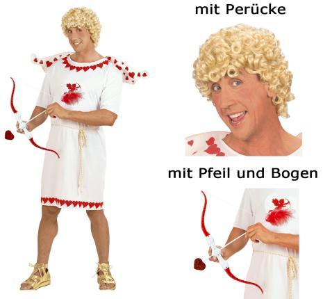 Kostümset Cupid - Amor - Glücksbote Amorkostüm Set mit Perücke + Pfeil M - 50/52