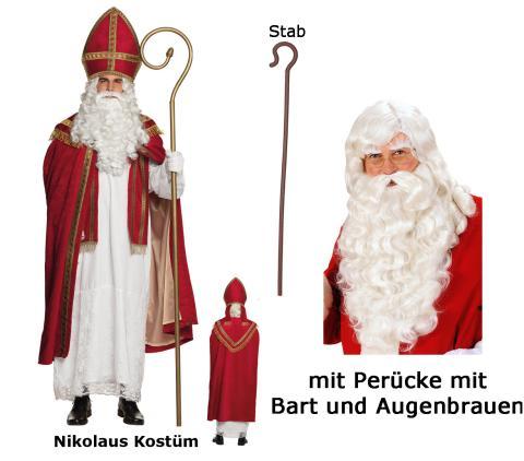 St Nikolaus Kostüm von Boland mit Perücke + Bart + Stab Gr. L/XL
