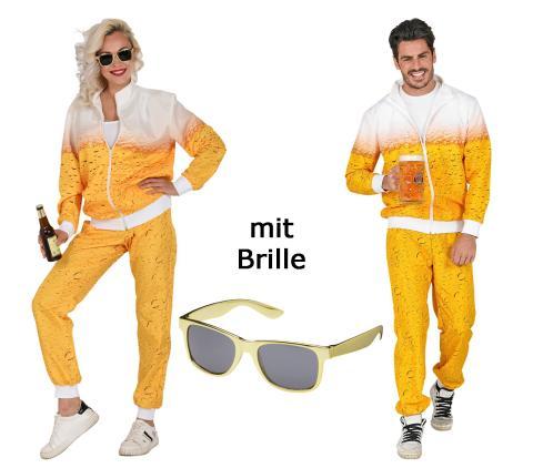 Bier Trainingsanzug für Sie und Ihn  Jogginganzug Gr. S bis 2XL - mit Brille