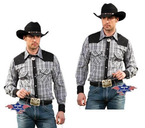 Herren Westernhemd Brian Cowboy - Stars & Stripes Westernmode Hemd